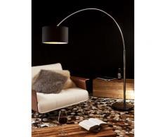 SalesFever Bogenlampe 210 cm | Ø Lampenschirm 35 cm | echter Marmorfuß | B 180 x T 38 x H 210 cm | schwarz
