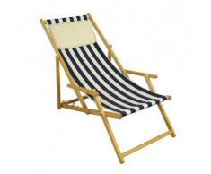 Klappstuhl blau-weiß Strandstuhl Gartenliege Sonnenliege Kissen hell Buche natur 10-317 N KH