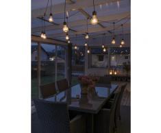 Konstsmide LED Biergartenkette Lichtervorhang , 20 klare Birnen / 160 bernsteinfarbene Dioden, 24V_Außentrafo, schwarzes Kabel LED Biergartenkette Lic