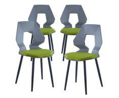 2er 4er Set Design Stühle Esszimmerstühle Küchentühle Wohnzimmerstuhl Bürostuhl Kunststoff 4 St. Grau / Dunkelgrün