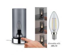 Paulmann Pinja Tischleuchte touch max.1x20W E14 Chrom/Rauchglas 230V Metall/Glas 77056 Nachttischlampe Nachtlicht 77056