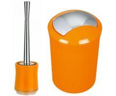 """spirella Badezimmer Set, 2-teilige Abfalleimer Kosmetikeimer und WC Bürste """"Sydney"""" Orange"""