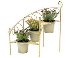 DanDiBo Blumentreppe Metall 38 cm Blumenständer mit 3 Töpfe 96098 Gelb Blumenständer Blumensäule Pflanzenständer Ablage
