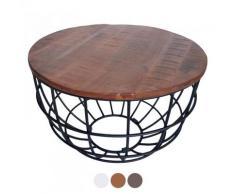 Couchtisch rund Lexington ø 75 cm Metall Gitter Drahtgestell Massivholz Wohnzimmer-Tisch : braun - bassano
