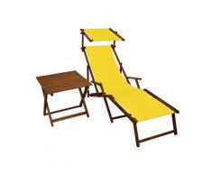 Sonnenliege gelb Liegestuhl Fußteil Sonnendach Tisch Gartenliege Deckchair Strandstuhl 10-302 F S T