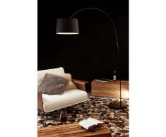 SalesFever Bogenlampe 205 cm | Ø Lampenschirm 40 cm | echter Marmorfuß | B 135 x T 36 x H 205 cm | schwarz