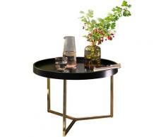 WOHNLING Couchtisch EVA Gold Sofatisch Rund Tabletttisch Beistelltisch Retro