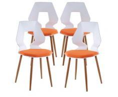 2er 4er Set Design Stühle Esszimmerstühle Küchentühle Wohnzimmerstuhl Bürostuhl Kunststoff 4 St. Weiß / Orange