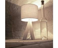 Licht-Erlebnisse RY1/5/152 Ging Nachttischlampe mit Holzfuß & grauem Stoffschirm Dreibein