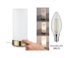 Paulmann Pinja Tischleuchte touch max.1x20W E14 Weiß/Messing 230V Metall/Glas 77055 Nachttischlampe Nachtlicht 77055