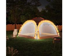 vidaXL Partyzelt mit LED und 4 Seitenwänden 3,6x3,6x2,3 m Grau Orange