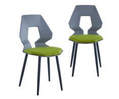2er 4er Set Design Stühle Esszimmerstühle Küchentühle Wohnzimmerstuhl Bürostuhl Kunststoff 2 St. Grau / Dunkelgrün