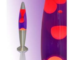 Licht-Erlebnisse LA552601Retro Lavalampe Timmy Blau Flüssigkeit Wachs Rot 36cm hoch