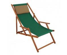 Deckchair grün Liegestuhl klappbare Sonnenliege Gartenliege Holz Strandstuhl Gartenmöbel 10-304 KD