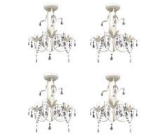 vidaXL Kristall-Deckenleuchte Kronleuchter 4 Stk. Elegantes Weiß