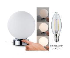 Paulmann Aari Tischleuchte touch max.1x20W E14 Chrom/Opal 230V Metall/Glas 77057 Nachttischlampe Nachtlicht 77057