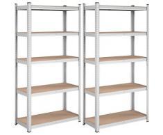 UAC Schwerlastregale, Stecksystem, Lagerregal, 2er Set, 180 x 90 x 40 cm, bis 875 kg belastbar, 5 verstellbare Ablagen, Silber