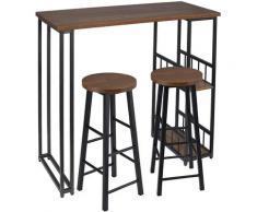 UAC Bartisch-Set mit 2 Barhockern 3-teiliges Tischset Barstuhl Bartheke Tresentisch mit 2 Ablagefläche, Metallgestell, dunkelbuche, Industriestil