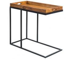 FineBuy Beistelltisch Sheesham massiv Holz Tabletttisch Abstelltisch Holz Metall