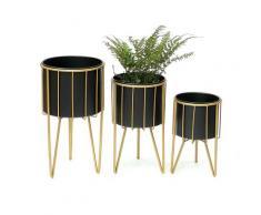 DanDiBo Blumenhocker mit Topf Metall Gold Schwarz Rund 3er Set Blumenständer 96039 Blumensäule Modern Pflanzenständer Pflanzenhocker