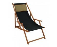 Liegestuhl schwarz Sonnenliege Kissen Gartenliege Holz Deckchair Strandstuhl Gartenmöbel 10-305KD