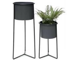 DanDiBo Blumenhocker mit Topf Metall Schwarz Grau 2er Set Blumenständer 96049 Blumensäule Modern Pflanzenständer Pflanzenhocker