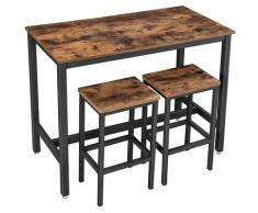 UAC Bartisch-Set mit 2 Barhockern, Essgruppe, 3-teiliges,1,2 x 0.6 x 0.9 m Bartheke, Metallgestell, Industrie-Design, vintagebraun-schwarz
