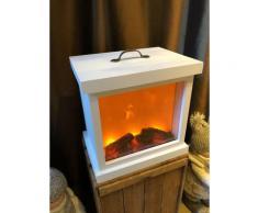 LED-Holzkamin weiß mit Kamineffekt