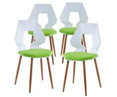 2er 4er Set Design Stühle Esszimmerstühle Küchentühle Wohnzimmerstuhl Bürostuhl Kunststoff 4 St. Weiß / Grün