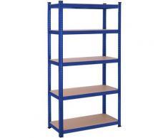 UAC Schwerlastregale 180 x 90 x 40 cm, Stecksystem, Lagerregal, bis 875 kg belastbar, verstärktes Stahlgestell, 5 verstellbare Ablagen, blau UAC04001