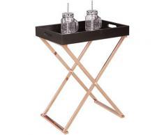 Beistelltisch SERVE Kupfer Schwarz Tablett Tisch Holz Couchtisch Wohnzimmertisch