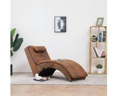vidaXL Massage Chaiselongue mit Kissen Braun Wildleder-Optik