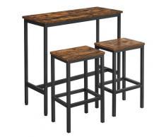 UAC Bartisch-Set mit 2 Barhockern, Essgruppe, 3-teiliges Tischset,1 x 0.4 x 0.9 m Bartheke, Metallgestell, Industrie-Design, vintagebraun-schwarz