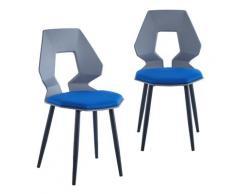2er 4er Set Design Stühle Esszimmerstühle Küchentühle Wohnzimmerstuhl Bürostuhl Kunststoff 2 St. Grau / Dunkelblau