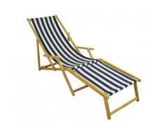 Liegestuhl blau-weiß Sonnenliege Gartenliege Strandstuhl Deckchair Fußablage Buche 10-317 N F