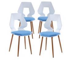 2er 4er Set Design Stühle Esszimmerstühle Küchentühle Wohnzimmerstuhl Bürostuhl Kunststoff 4 St. Weiß / Hellblau