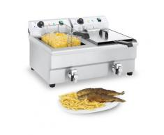 Royal Catering Doppel Elektro-Fritteuse - 2 x 16 Liter mit Ablasshahn