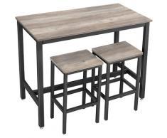 UAC Bartisch-Set mit 2 Barhockern, Essgruppe, 3-teiliges,1,2 x 0.6 x 0.9 m Bartheke, Metallgestell, Industrie-Design, Greige-schwarz