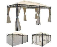 Pergola Cadiz, Garten Pavillon, stabiles 7cm-Gestell 5x3m ~ Variantenangebot