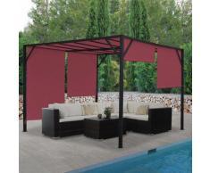 Pergola Baia, Garten Pavillon Terrassenüberdachung, stabiles 6cm-Stahl-Gestell + Schiebedach bordeaux-rot ~ Variantenangebot