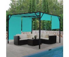 Pergola Baia, Garten Pavillon Terrassenüberdachung, stabiles 6cm-Stahl-Gestell + Schiebedach türkis-blau ~ Variantenangebot
