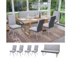 Set 4x Esszimmerstuhl+Sitzbank HWC-G54, Bank Küchenstuhl Stuhl, Stoff/Kunstleder Edelstahl ~ Variantenangebot