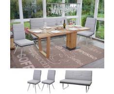 Set 2x Esszimmerstuhl+Sitzbank HWC-G54, Bank Küchenstuhl Stuhl, Stoff/Kunstleder Edelstahl ~ Variantenangebot