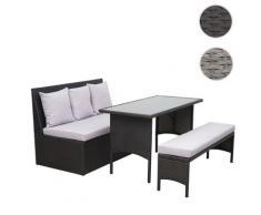Poly-Rattan Garnitur HWC-G16, Garten-/Lounge-Set Sitzgruppe, Gastronomie 2er Sofa Tisch Bank ~ Variantenangebot