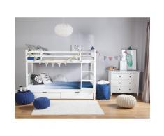 Hochbett Weiß 90 x 200 cm Kiefernholz Natürliches Material Etagenbett mit Leiter, Lattenrost und 2 Bettkasten Modern Klassisch