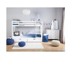 Hochbett Weiß 90 x 200 cm Kiefernholz Natürliches Material Etagenbett Mit Leiter, Bettkasten und Lattenrost, Traditionell Modern