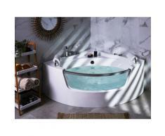 Eckbadewanne Whirlpool Weiß Sanitäracryl 187 x 140 cm LED mit 7 Farben Badezimmer