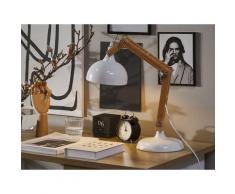Büroleuchte Weiß Holzgestell und Schirm verstellbar langes Kabel mit Schalter Moderner Look