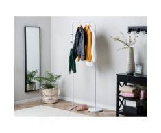 Kleiderständer Weiß Stahl 175 x 50 cm Modern Stilvoll Praktisch Freistehend Haken Flur