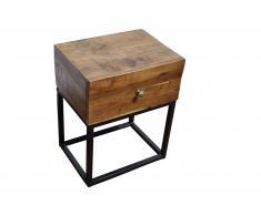 Nachttisch 40 x 30 x 50 cm Akazienholz massiv & nussbaum NAGAR 1